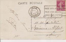 1933 France 06 Alpes Maritimes Nice Carte Postale Flamme 'Nice Ses Jardins, Son Soleil, Ses Fetes' - Postmark Collection (Covers)