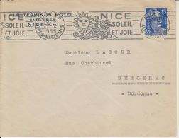 1955 France 06 Alpes Maritimes Nice Flamme 'Nice Soleil Et Joie' - Postmark Collection (Covers)