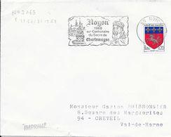 OISE 60  - NOYON    - FLAMME N° 2163  -  VOIR DESCRIPTION  - 1968 -  XIIE CENTENAIRE SACRE CHARLEMAGNE - Marcophilie (Lettres)
