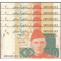 TWN - PAKISTAN 55i1 - 20 Rupees 2015 DEALERS LOT X 5 - Prefix GW - Signature: Ashraf Mahmood Wathra UNC - Pakistan