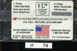 M074, USA, TK, Sonderkarte Nice Telecom, 5.00 $, 1993 - United States