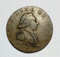 GREAT BRITAIN - HALF Penny Token ( 1795 ) Fred Duke Of York / Copper - Monetari/ Di Necessità