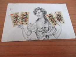 Fantasiekaart, Dame Met Speelkaarten - Cartes à Jouer