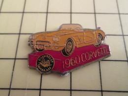 PIN812f Pin's Pins / De Belle Qualité Et Rare / AUTOMOBILE : 1960 CORVETTE JAUNE - Corvette