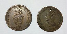 BRISTOL / SWANSEA - Copper Company (1811) / CANADA - Wellington (1812)  HALF Penny Token / LOT Of 2 Different TOKENS - Monetary/Of Necessity
