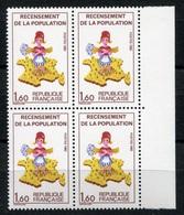 RC 7119 FRANCE 2202a RECENSEMENT VARIÉTÉ X2 CORSE SANS LES 7 DANS UN BLOC DE 4 NEUF ** - Frankreich