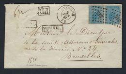 VERZEGELDE Brief Met Nr. 18 In Paar Verstuurd Vanuit SYNGHEM ( PT 345 ) Naar BRUXELLES (zie Alle Scans) ! RRR   LOT 213 - 1865-1866 Linksprofil