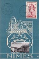 Yvert 943 Gargantua Cachet Commémoratif Foire De Nimes Gard 10/6/1953 Sur Carte Postale - Matasellos Conmemorativos