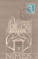 Yvert 810 Gandon Cachet Commémoratif Foire De Nimes Gard 6/6/1951 Sur Carte Postale - Matasellos Conmemorativos