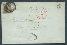 België Brief Met Nr 6 - 20 Oct 1851 Met Postbus X Burcht - 1851-1857 Médaillons (6/8)