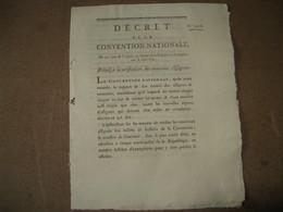 DECRET CONVENTION NATIONALE VERIFICATION NOUVEAUX ASSIGNATS AN II REVOLUTION ECONOMIE - ...-1889 Anciens Francs Circulés Au XIXème