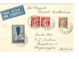 TP 337-339(2)-354 Ballon Piccard S/L.Avion C.Kortrijk 28/8/1933 V.Wageningen Holland 1620 - Postmark Collection
