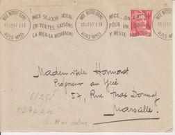1951 France 06 Alpes Maritimes Nice - N. Dame Flamme 'Nice Sejour Ideal En Toutes Saisons La Mer-La Montagne' - Postmark Collection (Covers)