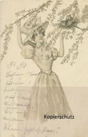 "AK Künstlerkarte, Ludwig Rauh: ""Pflückende Dame"" 1903 - Autres Illustrateurs"