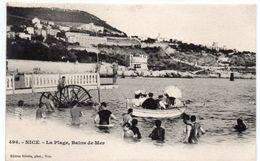 Alpes Maritimes -  NICE - La Plage - Bains De Mer - Barque - Dos Simple 1902 - Non Classés