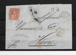 SITZENDE HELVETIA Gezähnt → PD Briefstück 1867 Stempel WATTWYL Nach Hâvre   ►SBK-33◄ - 1862-1881 Helvetia Assise (dentelés)