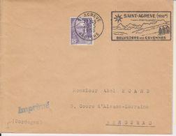 1953 France 07 Ardèche Saint Agreve Flamme 'Belvedere Des Cevennes' - Postmark Collection (Covers)