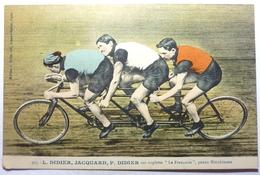"""L . DIDIER , JACQUARD , P . DIDIER SUR TRIPLETTE """"LA FRANÇAISE"""" , PNEUS HUTCHINSON - Cyclisme"""