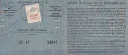 """Circulation Des Véhicule A Moteur Type PEUGEOT 403 B5 Récépissé De Ets Public """"RADIODIFFUSION TÉLÉVISION FRANÇAISE"""" - Voitures"""