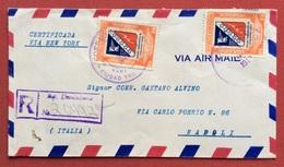 REPUBBLICA DOMENICANA 12 +12 C,  RACCOMANDATA PAR AVION VIA NEW YORK PER NAPOLI IN DATA 24/9/1949 - Hungary