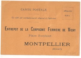 EAU DE VICHY MONTPELLIER Hérault.CARTE NEUVE Pour Pharmacien. - Vieux Papiers