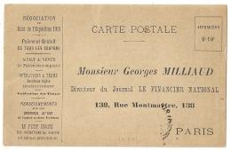 MINES D'OR. OPERATIONS DE BOURSE. LE FINANCIER NATIONAL. CARTE POSTALE NEUVE. PARIS. - Vieux Papiers