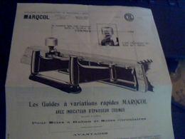 Publicitée Ancienne  Travail Du Bois   MARQCOL Usine A Moulins S/ Alliers Materiel Guide A  Variation Rapide - Publicidad