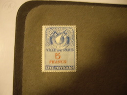 FRANCE Fiscal   Revenue Ville De PARIS  Neuf** 5 Francs - Revenue Stamps