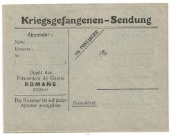 ROMANS Drome Enveloppe Verte Bleue PRISONNIERS DE GUERRE ALLEMAND. - Marcophilie (Lettres)