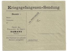 ROMANS Drome Enveloppe VERTE PRISONNIERS DE GUERRE ALLEMAND. - Cartes De Franchise Militaire