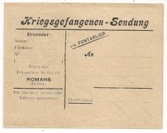 ROMANS Drome Enveloppe CREME PRISONNIERS DE GUERRE ALLEMAND. - Cartes De Franchise Militaire