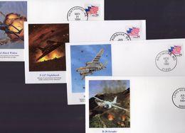 Lot Of 4 Airplane FDCs  -  1e Jour D'Emission  -  P-61 Black Widow-F-117 Nighthawk-B-26 Invader-B-26 Marauder - 4 X FDC - Aerei