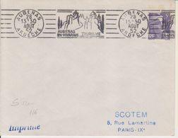 1952 France 07 Ardeche Aubenas Flamme 'Aubenas En Vivarais Tourisme' Chateaux Castle (Date On 4 Lines - Rare) - Postmark Collection (Covers)