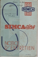 Simca Cinq - Notice D'entretien - Voitures