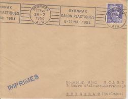 1954 France 01 Ain Oyonnax Flamme 'Salon Plastiques' - Postmark Collection (Covers)