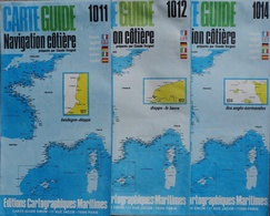 Carte Guide Navigation Côtière Par Claude Vergnot - Lot De 3 Cartes De La Manche  1/100.000e (1011, 1012, 1014) - Nautical Charts