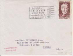 1954 France 10 Aube Troyes Flamme 'Ville D'Art, Capitale De La Champagne' - Postmark Collection (Covers)