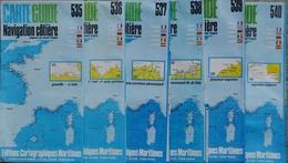 Carte Guide Navigation Côtière Par Claude Vergnot - Lot De 6 Cartes De La Manche  1/50.000e (N° 535 à 540) - Nautical Charts