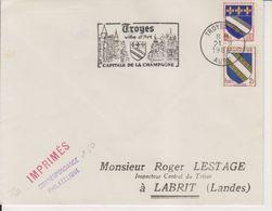 1964 France 10 Aube Troyes Flamme 'Ville D'Art, Capitale De La Champagne' - Postmark Collection (Covers)