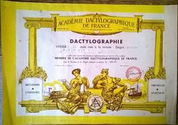 Dactylographie Degré Moyen Académie Dactylographique De France 1958 - Diploma & School Reports
