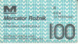 1133  BON  100  DINARA   MERCATOR - Slovenia