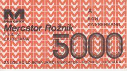 1134  BON  5000  DINARA   MERCATOR - Slovenia