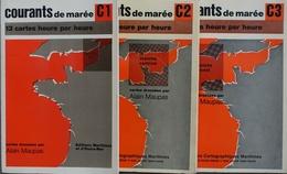 Courants De Marée C1 C2 C3 - Lot De 3 Fascicules De La Manche, Cartes Dressées Par Alain Maupas - Editions Maritimes - Cartes Marines