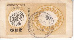 1135  BON  10  DINARA   ŽELEZARNA  JESENICE - Slovenia