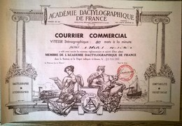 Courrier Commercial Académie Dactylographique De France 1960 - Diploma & School Reports