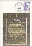 Cachet Commémoratif Illustré Crocodile Croix De Lorraine Année Charles De Gaulle Nimes 1990 Carte Postale Appel 18 Juin - De Gaulle (General)