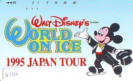 Télécarte Japon / 110-011 - DISNEY * WORLD ON ICE (6102)  MICKEY * SKATING * JAPAN - Phonecard - TELEFONKARTE - Disney
