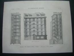 ARCHITECTURE..GRAVURE De 1898..MAISON, Rue Debelleyme à PARIS (75)..Architecte M. Le THOREL - Architecture