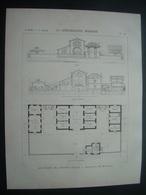 ARCHITECTURE..GRAVURE De 1898..ABATTOIRS De CHARMES (88)..Architecte M. MOUGENOT - Architecture
