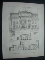 ARCHITECTURE..GRAVURE De 1898..MAISON CANTONALE à BORDEAUX (33)..Projet De M. LAHAURE - Architecture